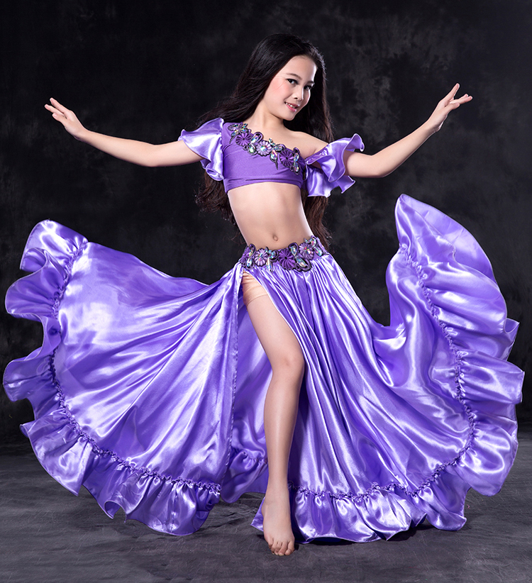 RT123 Wuchieal Satin and Spandex Kids Belly Dance Performance Costume