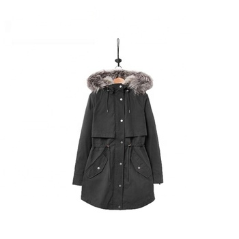 Wholesale Custom Fashionable Faux Fur Lined Winter Green  Parka For Woman