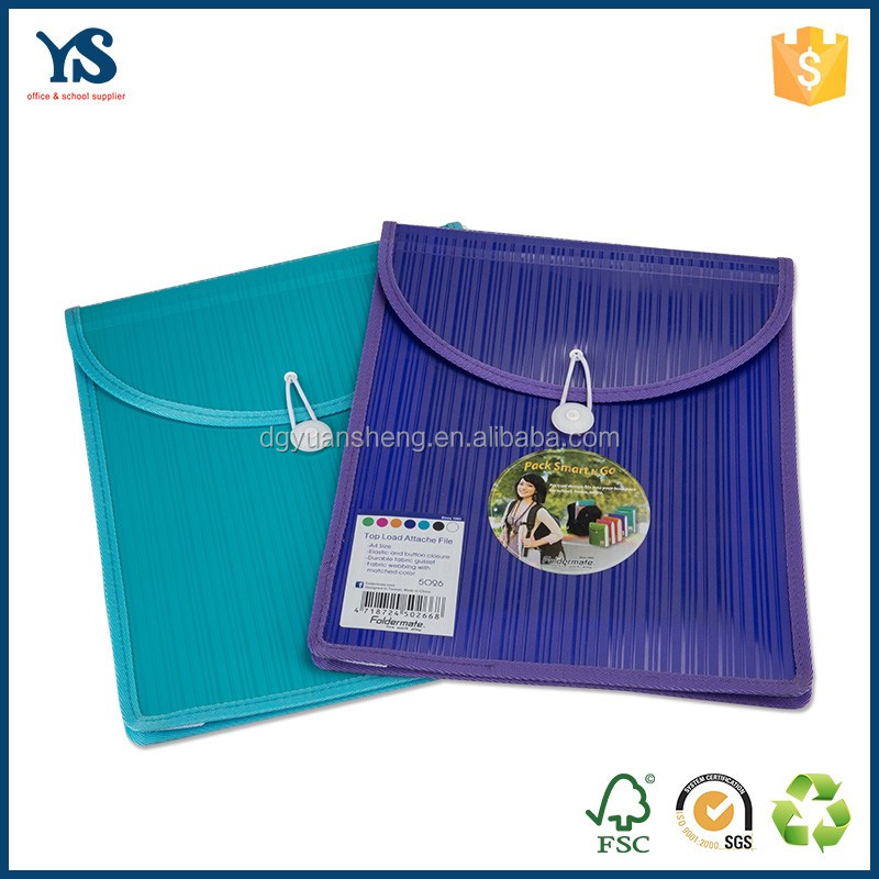 Creative design colorful plastic file folder fastener with sewing