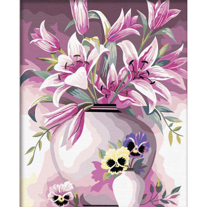 The frameless Pictures Painting By Numbers Digital Oil Painting On Canvas Unique Gifts <font><b>Home</b></font> <font><b>Decoration</b></font> 40x50cm <font><b>Elegant</b></font> Lily