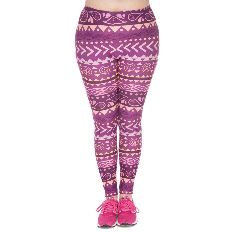 KEBINAI Athletic-leggings Kebinai Summer Leggings Boho Purple Printed High Waist Leggings Plus Size Trousers Stretch Pants