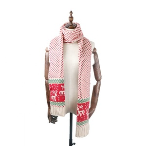 Winter Christmas knitted jacquard fawn scarf