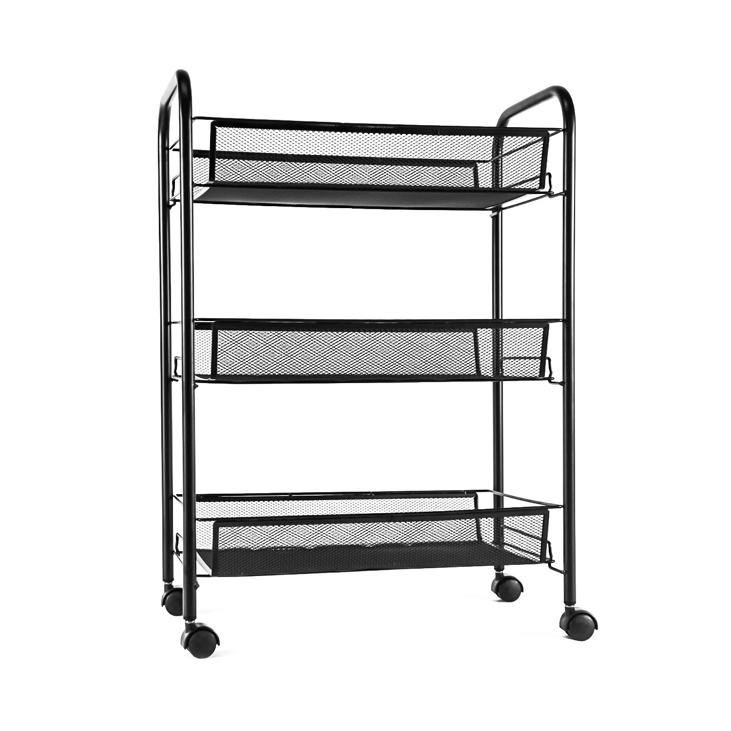 Get Quotations · YIMU 3 Tier Mesh Rolling Storage Cart With Baskets, Office  File Utility Cart On Wheels