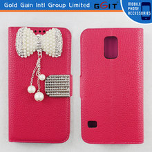 High Quality Litchi Pattern Leather Case for Motorola RAZR HD XT925 with Luxury Butterfly Diamond