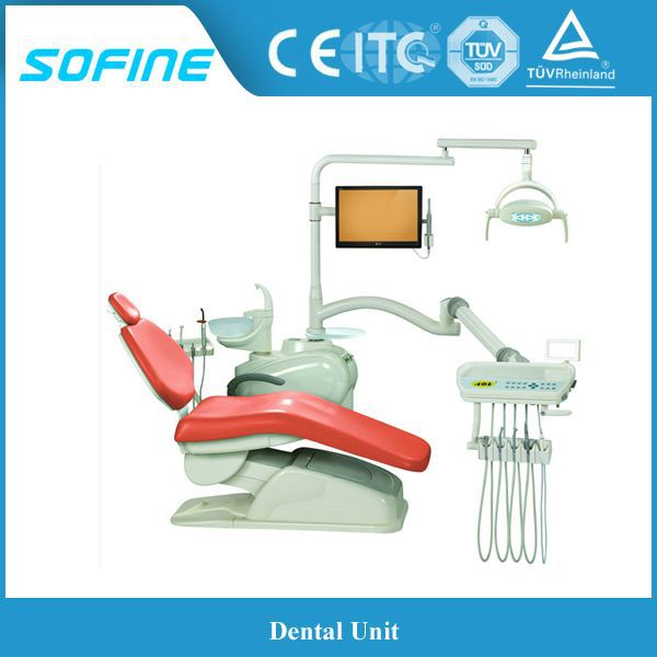 Dental Ultraleather Dental Chair Equipment W/ Delivery Unit & Stools