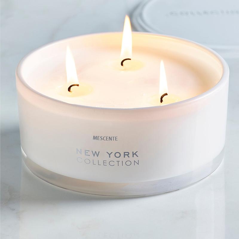 Mescente commercio all'ingrosso private label bianco di cemento armato di vetro 3 stoppino 100% di soia cera di candela profumata vaso con coperchi di legno