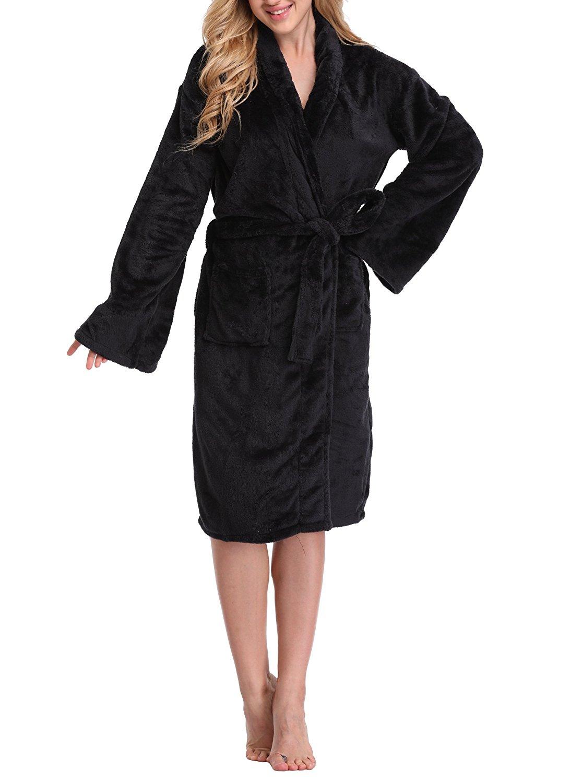 Get Quotations · Feelia Women s Fleece Robe Long Bathrobe Plush Soft Cozy  Spa Bath Robe For Winter e42be22d2
