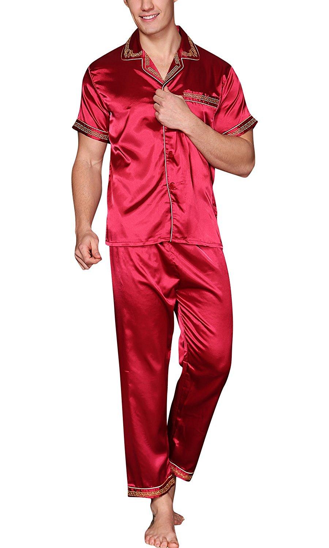 Get Quotations · Dolamen Mens Pyjamas Set Satin Silky Spring Summer Pyjamas  Nightwear Long Bottoms 04c5d582b