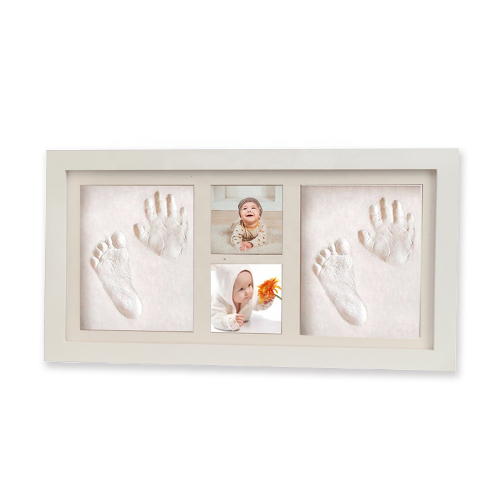 White Gifts DIY wood Photo Baby Hand and Footprint Photo Frames Cute
