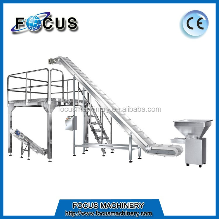 Stainless Steel Plastic Inclined Conveyor dengan Warna Putih