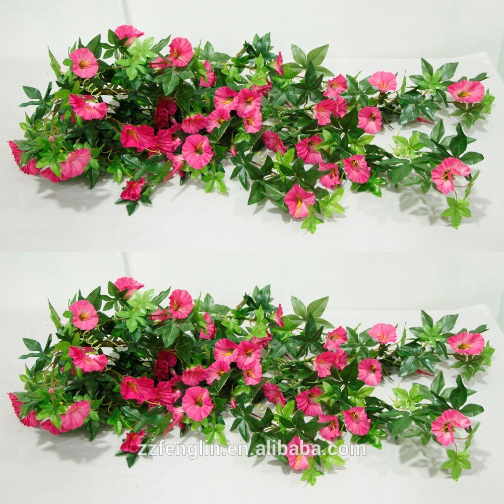 Artificial Silk Flower Rattan Twigs Wall Hanging Morning Glory