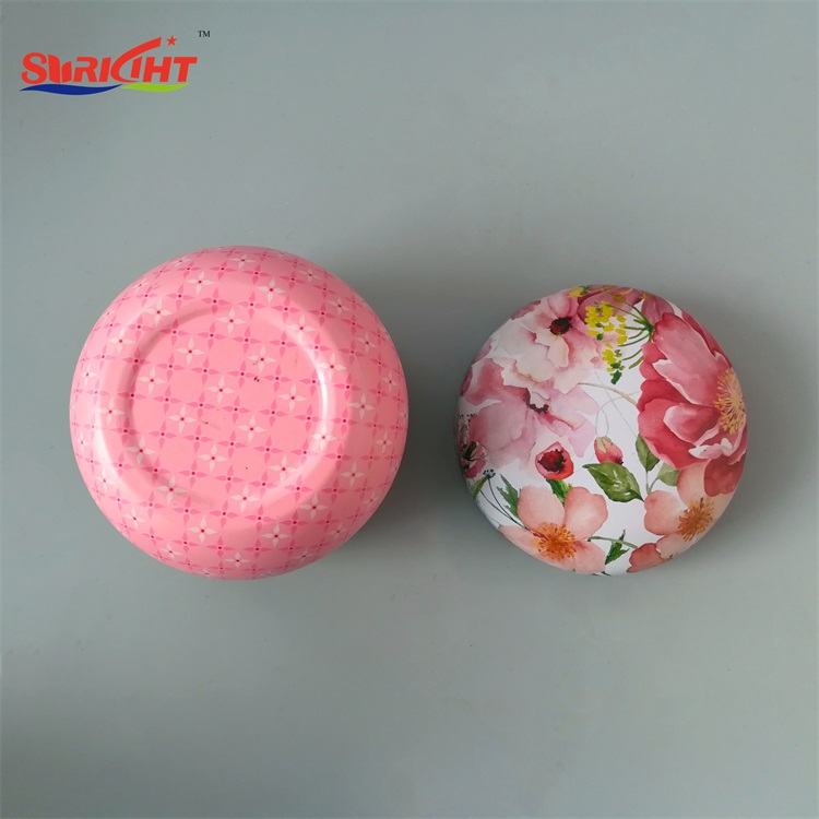 Ball Round Shaped Printed Green Soy Wax Tin Candle
