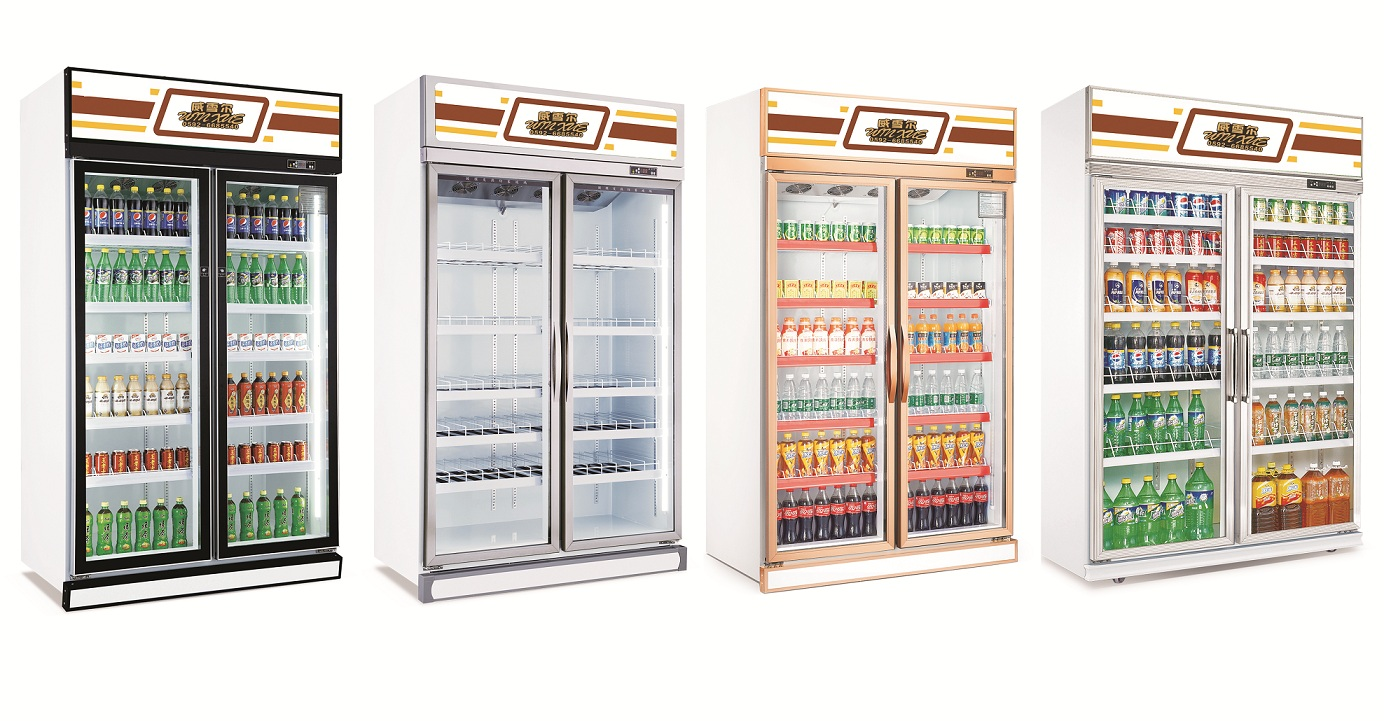 Large capacity 2 doors daily use vertical display refrigerator commercial Beverage Refrigerator and Cooler