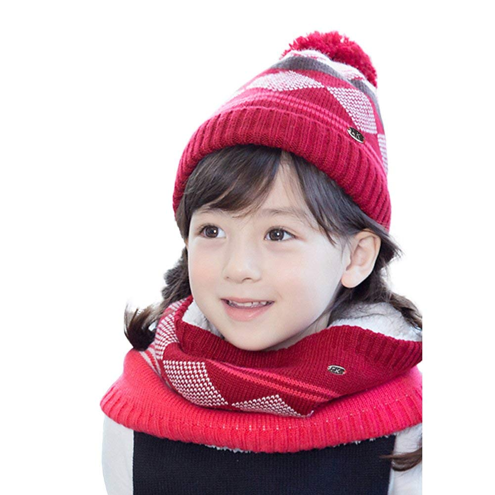 ebebe32076e1 Get Quotations · O N Toddler Kids Boys Girls Winter Soft Stripe Scarf Hat  Set Caps Scarves