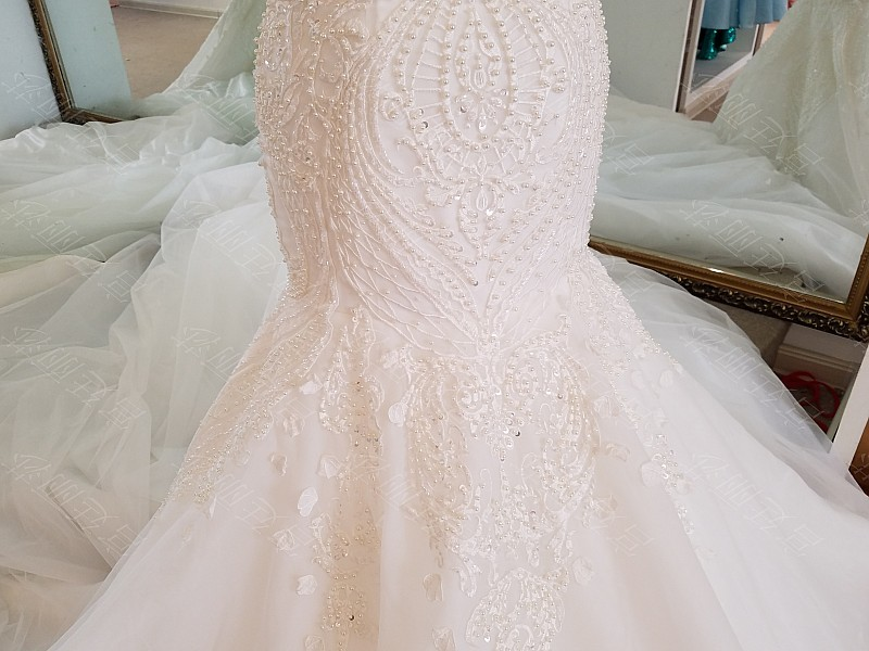 LS17006 Sexy mermaid wedding dress see through back cap sleeves tulle lace wedding gowns 2017 robe de mariee sirene 19