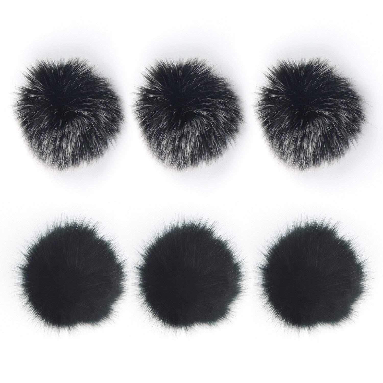 6 Pack 2 Colors Mini-size Lapel Lavalier Microphone Furry Windscreen Muff (Black and Light Black)