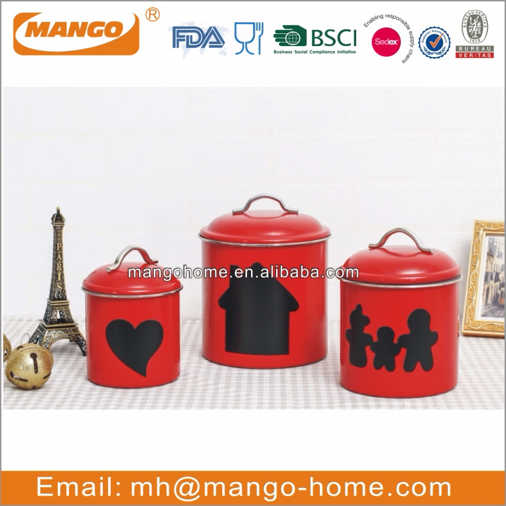 china wholesale stainless steel metal food airtight red powder coating canisters