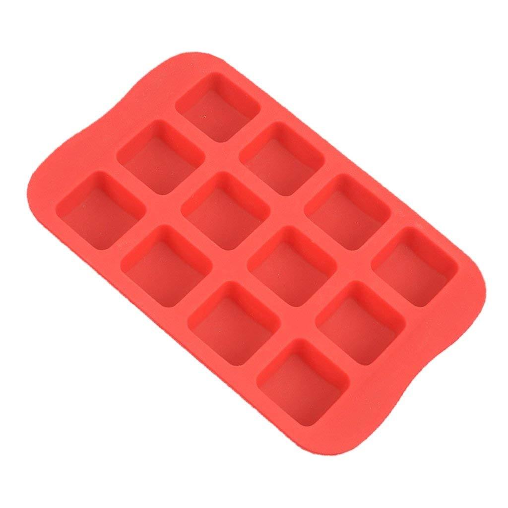 Jili Online Star, Heart, Round, Cube Shape Silicone Mold Fondant Gum Paste Chocolate Craft DIY Cake Dessert 4 Types PICK - Red, Square