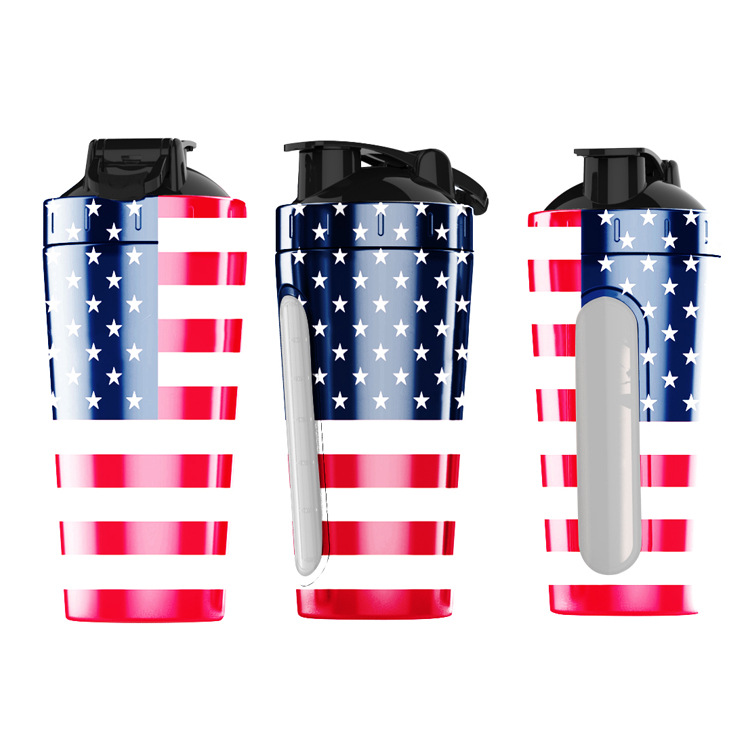 Protein Shaker with Window Stainless Steel Shaker Bottle for Gym