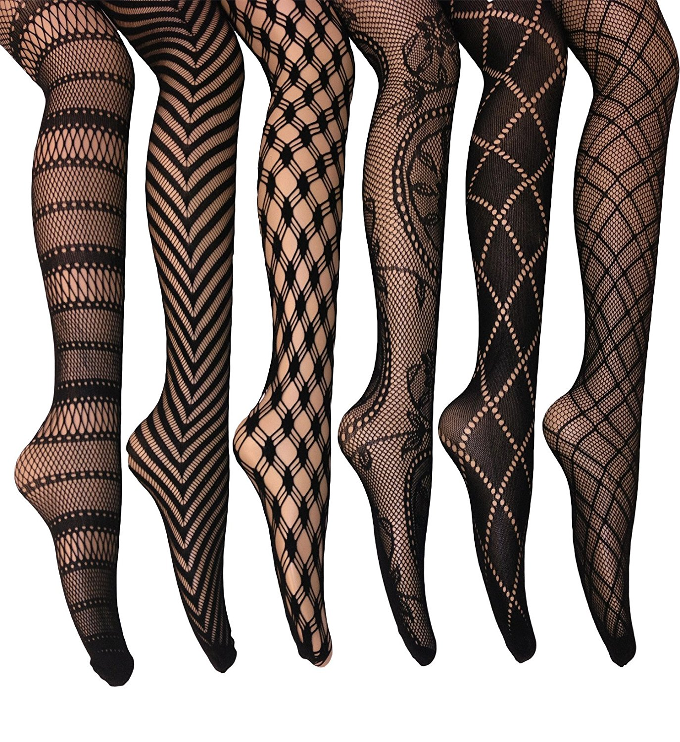 2d7ed53b9ea73 Get Quotations · Frenchic Fishnet Women's Lace Stockings Tights Sexy  Pantyhose Extended Sizes (Pack of ...