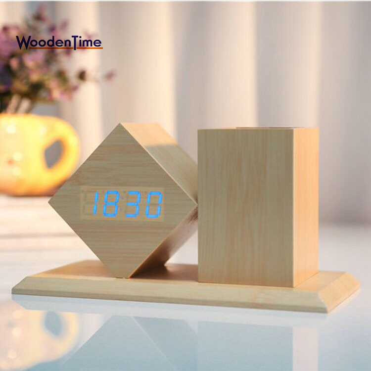 2018 Creative Christmas gift Study Desk Wood Pen Container Holder LED Digital Alarm Clock With Temperature Time Date