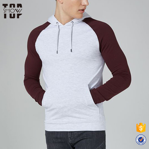 2018 New design fashion dry muscle fit raglan long sleeves pullover hoodie with hood