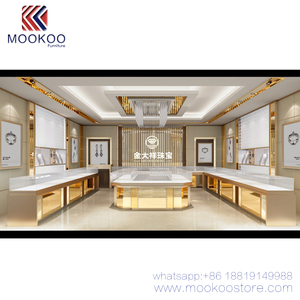 Golden India Style 3D Rendering Jewelry Shop Design