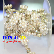 Top quality 10 yards crystal and pearl trim, rhinestone chain trim, wholesale rhinestone chain for christmas decoration