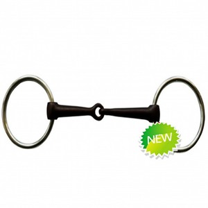 black steel horse ring snaffle bit with solid jointed mouth