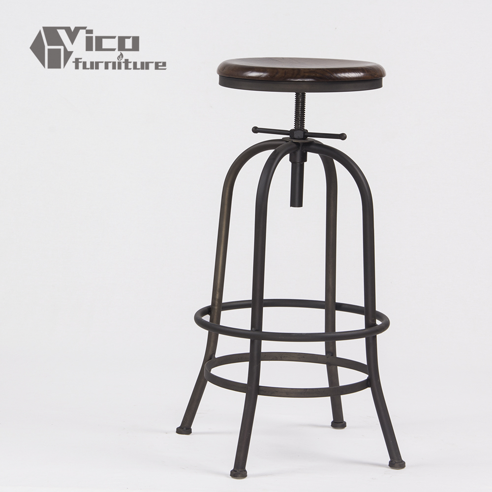 supplier manufacturer famous designed iron body wooden seat swivel bar stool