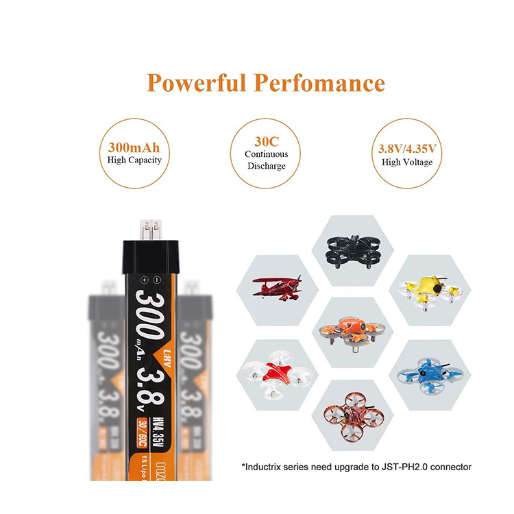 Crazepony 4pcs 300mAh Lipo Battery 3.8V 1S 30C 3.8V for Tiny Whoop JST-PH 2.0 Powerwhoop Connector