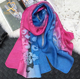 2017 High Quality Autumn Wholesale Female Foulard Mousseline Women Cotton Blended gradient Embroidered Flowers Lace Scarves