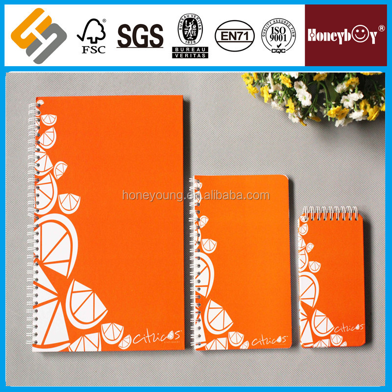 A3/A4/A5 paper/pp cover decorative wide ruled spiral notebook for girl