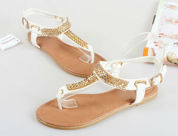 T Shape Shoes For Ladies Diamonds Flat Sandal Shoes 2015