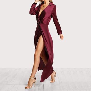 Wholesale Burgundy Sexy Party Dress Satin Front Twist Wrap Dress Lapel Deep V Neck Long Sleeve Split Maxi Shirt Dress