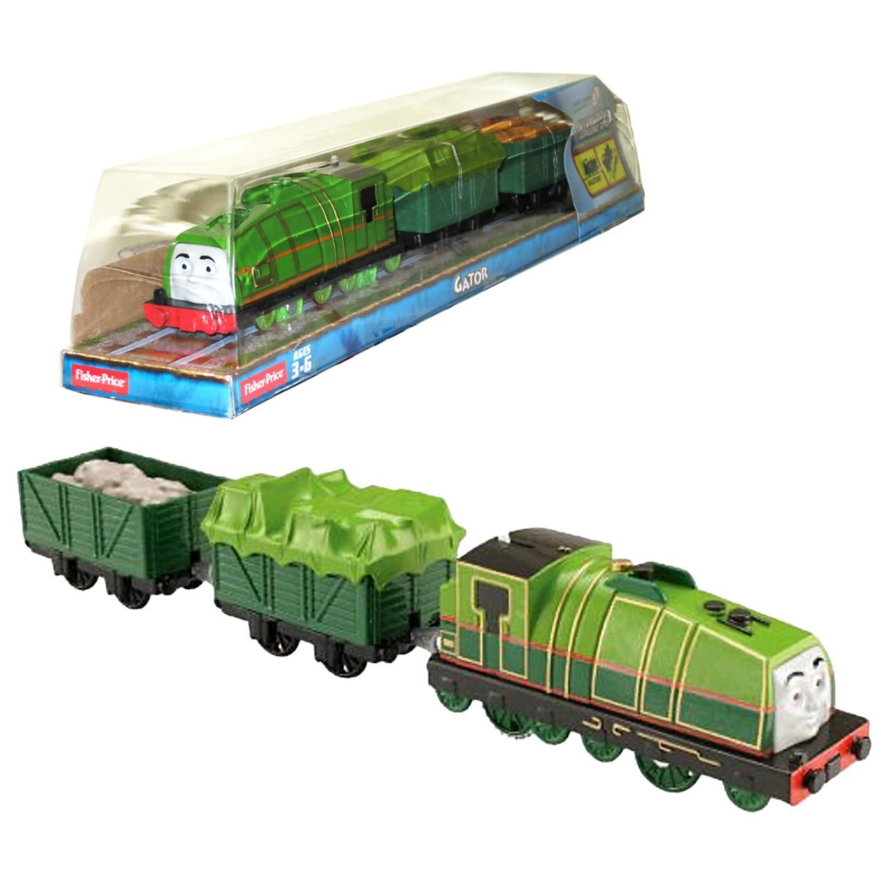 """Fisher Price Year 2014 Thomas and Friends Trackmaster As Seen on DVD """" Tale of the Brave"""" Enhanced Motorized Railway Battery Powered Engine 3 Pack Train Set - GATOR the Green Color Steam Locomotive with Tarp Covered Car and """"Cargo Loaded"""" Car"""