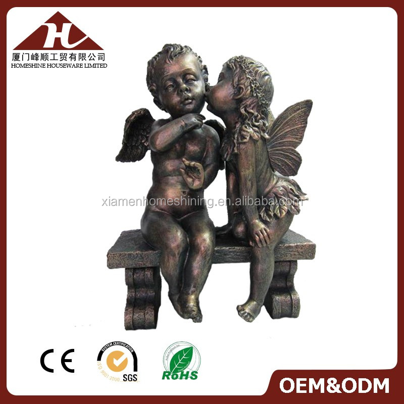 resin kiss baby angel figurines for garden decor