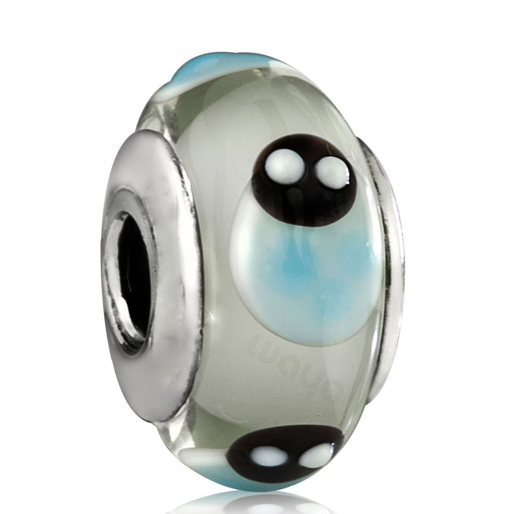 925 Sterling Silver Blue Ladybird Murano Glass Charm Floating European Beads DIY Bracelet Charms Fits Chain Necklace Bangle