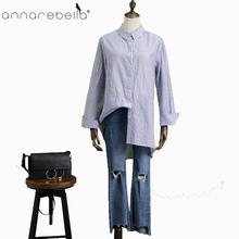 3724932bc0 2018 temporada Primavera feminina 100% algodão fio tingido listra tecido  blusa camisas casuais