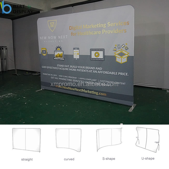 Customize Printed Portable Trade Show Display Pillowcase Backdrop With Hardware And Graphic