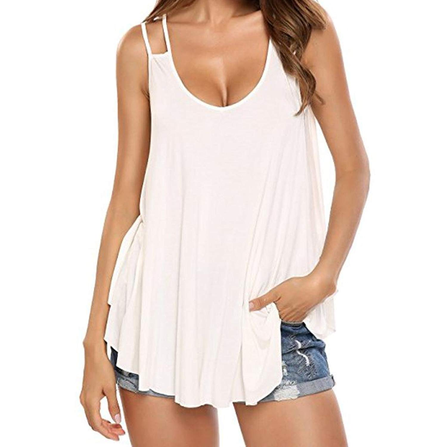 Sexy Camisole, Women Casual Loose Ruffles Sling Tops Sleeveless Pure Color Tank Blouse