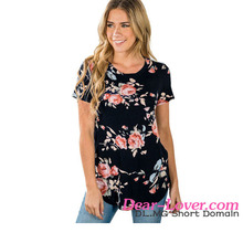 latest shirt designs for women Black Short Sleeve Round Neck Floral Printed T-shirt