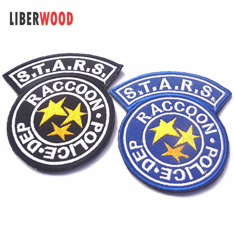 Raccoon City Department Resident Evil Raccoon Police Stars Biohazard hook & loop Patch Badge Embroidery STOCK фото