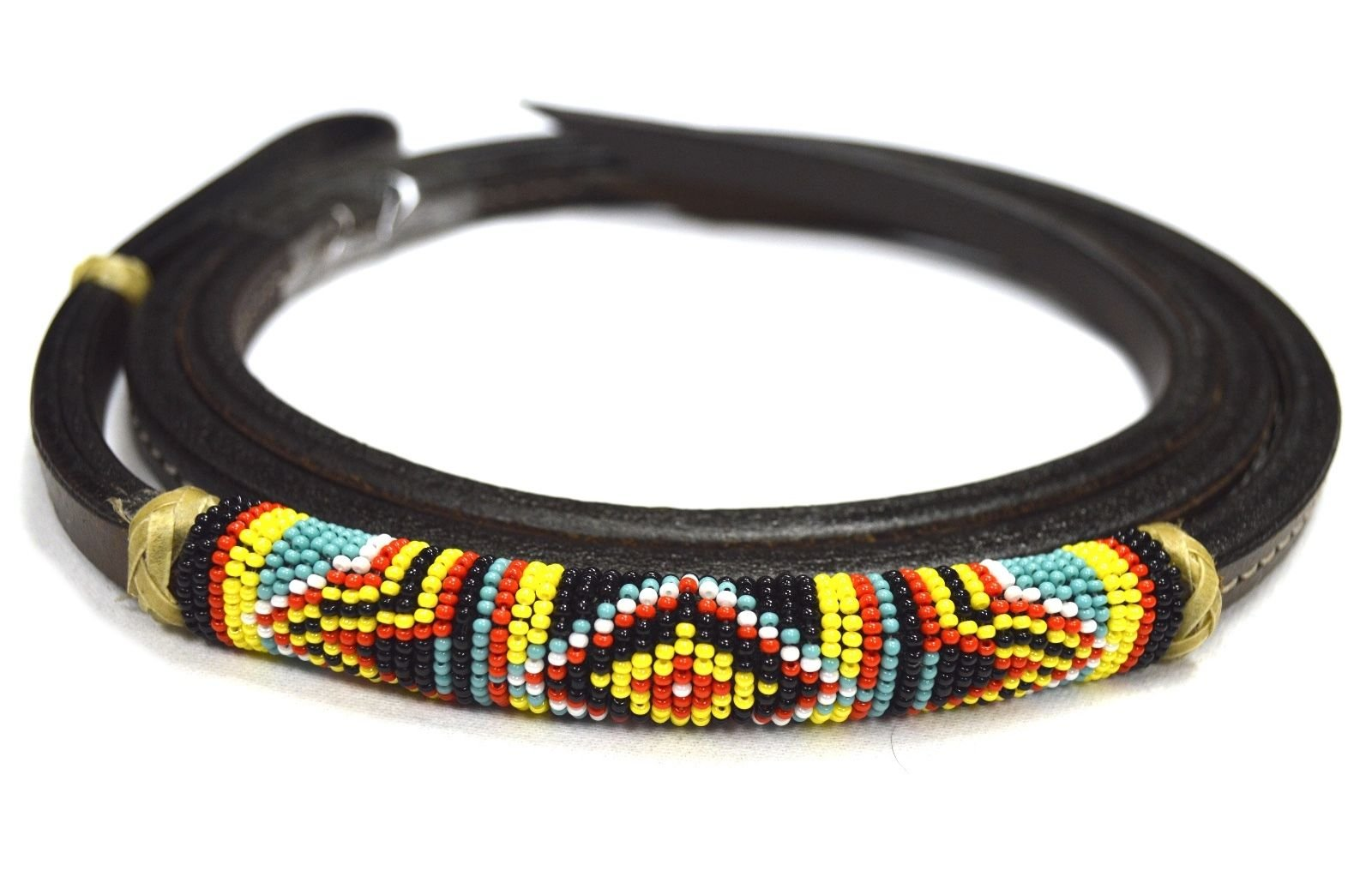 Western Leather Over Under Horse Whip Navajo Beaded