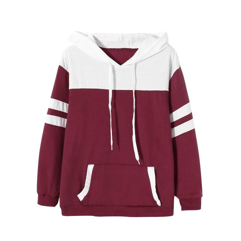 Clearance!Women Long Sleeve Hoodie Sweatshirt Cuekondy Fashion Patchwork Pocket Hooded Jumper Pullover Tops Blouse