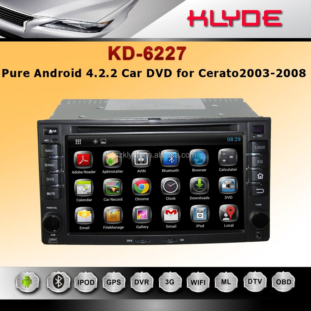 KLYDE Brand Pure Android 4.2.2 car DVD Navigation for cerato