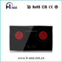 Touch Control big size 2 burners Infrared Electric ceramic hob