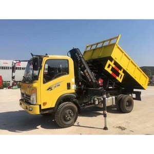 SINOTRUK CDW 3.2T folding arm crane tipper truck with remote control hot sale