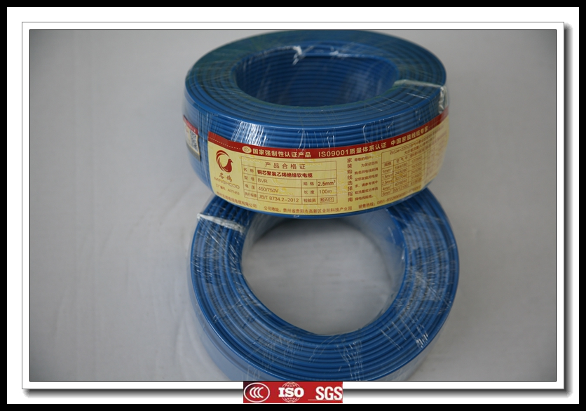 CCC BVR2.5mm 450/750V blue color PVC insulated Single core copper electric wire from manufacturer