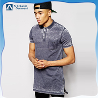 Men's latest design longline zip details vintaged washed polo t shirt